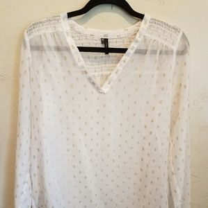 NWOT Maurices white and gold sheer shirt